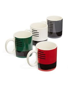 HBC Collections | HBC Collection | Boxed Set of Four Blanket Mugs | Hudson's Bay Hudson Bay Blanket, Portfolio Design, Mugs, Fall 2015, Roots, Blankets, Collections, Stripes, Canada