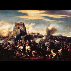 MARZIO MASTURZIO ( active in Naples and Rome in the second half of '600). BATTLE. oil on canvas. Rome. Galleria Corsini.