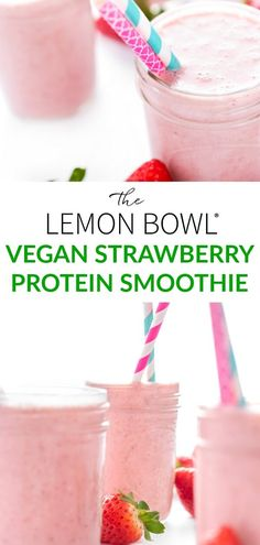 This protein-packed, thick and creamy vegan strawberry smoothie is made with juicy berries, coconut milk and a splash of vanilla. #TheLemonBowl #Vegan #Strawberry #Smoothie #Breakfast