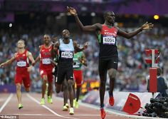 Kenya's David Lekuta Rudisha reacts after winning the men's final in world record time of during the London 2012 Olympic Games at the Olympic Stadium August 9 Nbc Olympics, 2012 Summer Olympics, London Olympic Games, 800m, Sport One, Sports Pictures, Running Man, Sports Stars, World Records