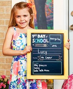 Create lasting memories of their first and last day of school with this fun chalkboard sign. Fill in all the blanks with your own piece of chalk and snap a pict