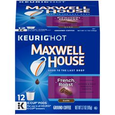 Maxwell House Coffee Cafe Collection French Roast Dark 12 Single Serve Cups, Net Wt 3.70 oz (105 g)