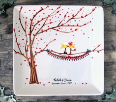 Support Our Troops, Yellow Ribbon Love Birds - All Branches : Personalized Hand Painted Plate. $42.00, via Etsy.