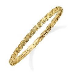 Sterling Silver Stackable Expressions Gold-plated Carved Slip-on Bangle QSK1675