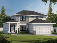 031H-0470: 2-Story Contemporary House Plan Contemporary Style Homes, Contemporary House Plans, Contemporary Design, Alternate Exterior, Open Family Room, American Houses, Flex Room, Kitchen Cabinets In Bathroom, Best House Plans