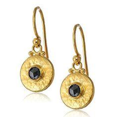 Rose cut black diamonds set in hand hammered 24K earrings