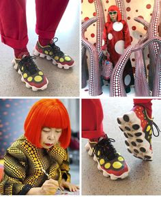 Sneakers seen at an art fair that remind me of art work by Yayoi Kusama (pictured here, but not in the same place as the guy with the sneakers)