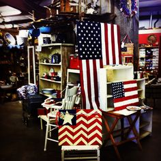 Americana. Folkart Flags with Antiques. Patriotic red white and blue . Treasures Antique Mall Springville Utah . #skrapdesign