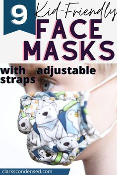 9  Kid-Friendly Face Masks (With Adjustable Straps!) via @clarkscondensed Frugal Family, Family Kids, Face Masks For Kids, Pregnancy Advice, Favorite Cartoon Character, Best Face Products, My Children, Fun Projects