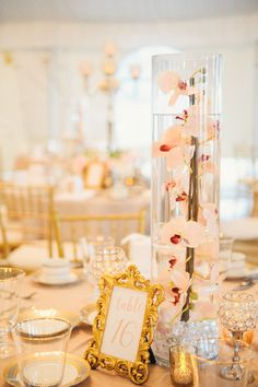 Blush and Gold Wedding Reception with Tall Submerged Orchids in Glass Vase Wedding Centerpieces on Blush Linens with Gold China and Chiavari Chairs Wedding Reception Centerpieces, Flower Centerpieces, Wedding Decorations, Wedding Receptions, Reception Ideas, Flower Arrangements, Gold Bridal Showers, Tall Vases, Wedding Flowers