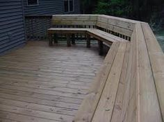 Idea for built in deck seating Deck Bench Seating, Built In Seating, Built In Bench, Outdoor Seating, Outdoor Spaces, Outdoor Living, Outdoor Decor, Garden Seating, Outdoor Projects