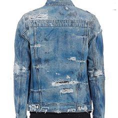 Distressed Denim Jacket Mens, Destroyed Denim Jacket, Denim Jeans Men, Denim Coat, Star Clothing, Clothing Co, Love Jeans, Jeans Style, African Street Style