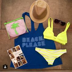 Beach Please!  #TankTop $42.00 #VitaminA #Bikini $156.00 #FlashTattoos $22.00 #Fedora $45.00 #Sunglasses $13.00 #Beach #Bag $28.00
