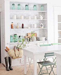 """Dreamy Whites Lifestyle on Instagram: """"My husband installed the bottom shelf for the built in over the weekend. It just needs trim around the base and then that project will be completed ;). We will have more French market baskets in stock this week. {the link to our shop is in our profile} #dreamywhiteslifestylebuiltin"""""""