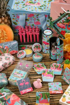 Tropical Flamingo Giftware Range including Coolbag, Gift Bags, Manicure Sets, Lip Balm, Earbuds, Sunglasses Cases, Tissues, Shaped Nail Files, Matchbook Nail Files and many more items!