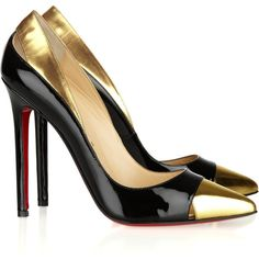 Christian Louboutin Duvette 120 metallic and patent-leather pumps, found on polyvore.com