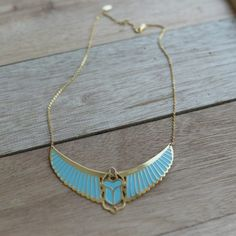 Decoration:  Turquoise and Golden Scarabe  Material:  Gold Plated , 3 microns