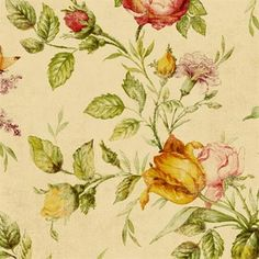 Red and Brown Chatsworth Floral Wallpaper, SBK20225