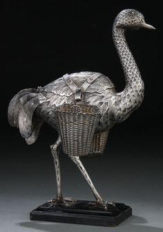 A Dutch Victorian Silver and Gemstone - mounted Ostrich, circa 1892.