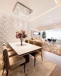 #Decoredecor || Delicia de apartamento com estilo clássico e parede toda 3D que tal?? via : @interioresinspira #somosconteudo_