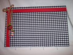 "17""x11"" Gingham Cork Memo Board & Keyholder w/ Red Ribbon and Apple Accents by Marlo Custom Creations on ETSY"