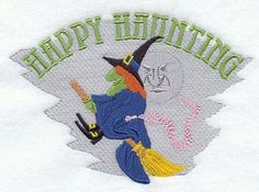 HAPPY HAUNTING Halloween  machine embroidered White Cotton Kitchen Tea Towel by StitchnJEmbroidery on Etsy
