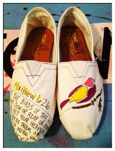 Bird Matthew 6:26  Custom Toms by CustomTOMSbyJC on Etsy, $77.00