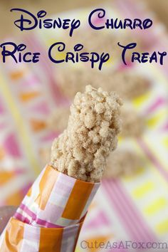 Disney Churro Rice Crispy Treat. The great taste of a churro but the ease of making a rice cereal treat! No frying either!