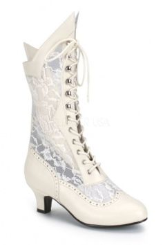 Ivory Faux Leather Floral Mesh Victorian Boots