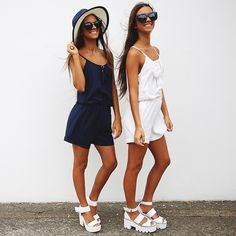 Renee + Elisha Herbert rocking the 'Sharena Playsuit' from peppermayo.com