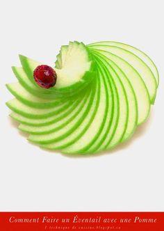 1 sculpture de fruit et légume: Comment Faire un Éventail avec une Pomme en 1 Minu...