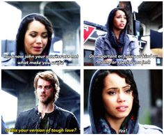 """TTP - 1x21 Kill Switch [gifset] - """"Is this your version of tough love?"""" - Astrid and John, Jastrid, The Tomorrow People"""