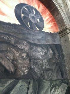 """El """"Progreso"""" a base de la explotación de los humildes, mural por José Clemente Orozco, Hospicio Cabañas."""