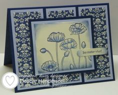 Cardstock: Bashful Blue, Midnight Muse, Very Vanilla Inks: Midnight Muse Stamps: Teeny Tiny Wishes, Petite Pairs, Pleasant Poppies Tools: Word Window Punch, Blender Pen, Stampin' Dimensionals DSP: Comfort Cafe