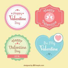 Etiquetas bonitos feliz Dia dos Namorados Vetor grátis