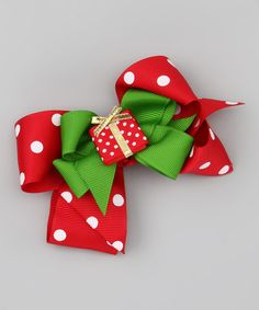 Take a look at this Red Polka Dot & Present Bow Clip Set by Picture Perfect Hair Bows on #zulily today!