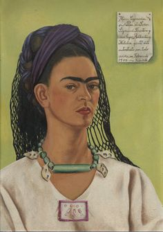Self Portrait Dedicated to Sigmund Firestone, 1940 Frida Kahlo. Love this self-portrait of Frida. Lighten up, my darling. Frida E Diego, Diego Rivera Frida Kahlo, Frida Art, Natalie Clifford Barney, Elizabeth Peyton, Kahlo Paintings, Edward Hopper, Mexican Artists, Louise Bourgeois