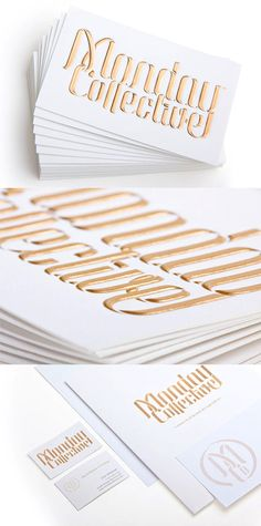 Luxurious Gold Embossed Hand Rendered Typography Business Card Design