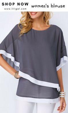 af06dbb8ec84 Half Sleeve Dark Grey Chiffon Overlay Blouse  liligal  blouse  tshirt