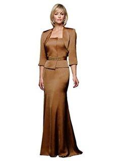 Alyce Paris JDL 29447 Satin Formal Dress with Jacket, Taupe, 10 - Elbow Length Bolero Jacket, Long Mermaid Skirt; Satin