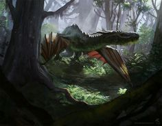 Two of my favorite things to paint: Dragons and forests. Dragon in the Wild Fantasy Rpg, Medieval Fantasy, Fantasy Artwork, Fantasy World, Dragon Artwork, Les Themes, Fantasy Monster, Creature Concept, Fantasy Inspiration