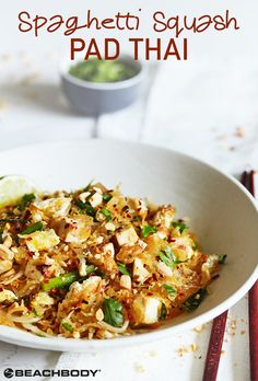 We put a twist on this traditional dish, by swapping out noodles for spaghetti squash. It has all the same great flavors of Pad Thai, but it sneaks some extra veggies into the meal. Get the yummy recipe here! // healthy recipes // lunches // dinners // pad thai recipe // spaghetti squash pad thai // vegetarian // Beachbody // BeachbodyBlog.com