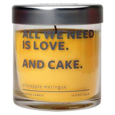Glass Jar Candle - Pineapple Meringue - Sincerely Me, Yellow