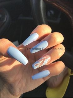 55 Trending Blue Coffin Nails Designs For You In 2019 Spring And Summer - Nail Art Connect Blue Coffin Nails, Blue Acrylic Nails, Summer Acrylic Nails, Acrylic Nail Designs, Summer Nails, Simple Acrylic Nails, Long Nail Designs, Pastel Nails, Acrylic Art