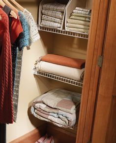 Make use of empty recesses at the end of your closet by adding wire shelving.