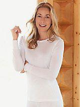 Ladies' Long Sleeve Crewneck Top in Lightweight Washable Silk | WinterSilks