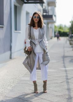 Pin for Later: 43 Chic Summer Outfits That Are Perfect For 30-Somethings Layered neutrals with high heels