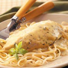 Creamy Herbed Chicken  --- RecipeChicken dishes make amazing slow cooker recipes. This creamy herbed chicken recipe is no different. Made with garlic and herb pasta sauce mix, this slow cooker chicken recipe is not lacking. ~ Cover and cook on low for 4-5 hours or until chicken is tender.