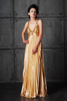 Full Sequin Decorated V Neck with Pleated Skirt Floor Length Dress $457.96