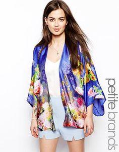 True Decadence Petite Floral Satin Kimono